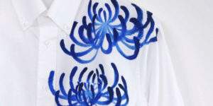 手描き菊柄ボタンダウン長袖シャツ ホワイト