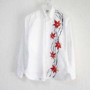 手描き紅葉柄 長袖 オックスフォードボタンダウンシャツ メンズ