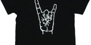 手描きTシャツのniko(ニコ) men's手狐ハンドサインTシャツ 手描きで描いた狐のTシャツ