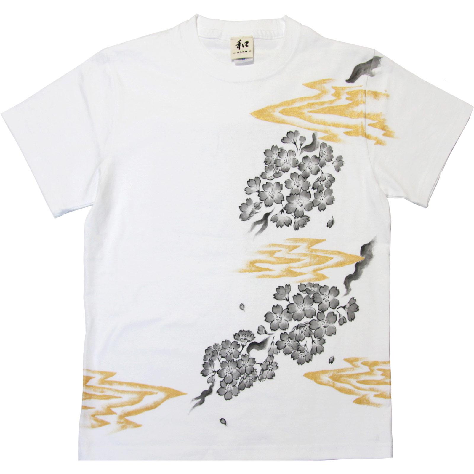 桜柄手描きTシャツ 和柄 ハンドメイド niko