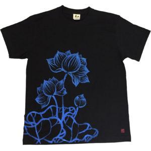手描きTシャツのniko(ニコ) men'sは蓮柄Tシャツ 手描きで描いた蓮の花のTシャツ