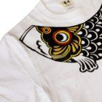 手描きTシャツのniko(ニコ) 鯉のぼり柄Tシャツ メンズサイズ  ホワイト 黒鯉