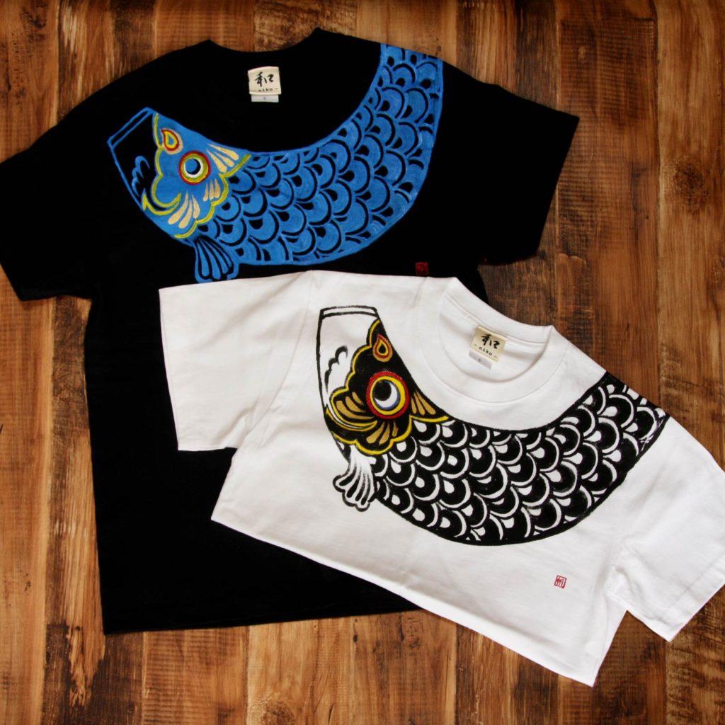 men's鯉のぼり柄Tシャツ 手描きで描いたこいのぼりのTシャツ こどもの日