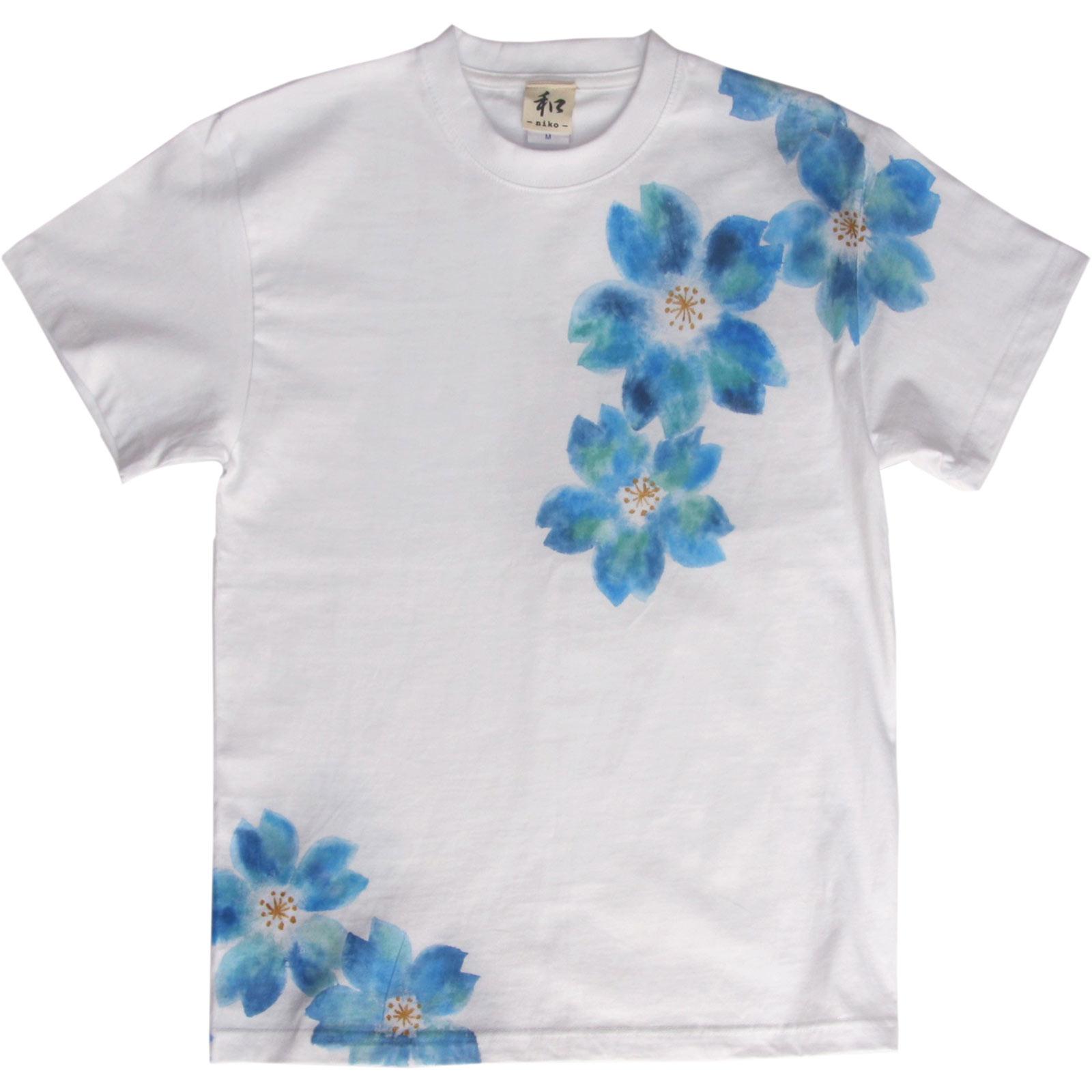 舞桜柄手描きTシャツ 和柄 ハンドメイド niko