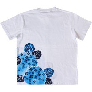 メンズ 紫陽花柄Tシャツ 手描きで描いたアジサイの花柄Tシャツ