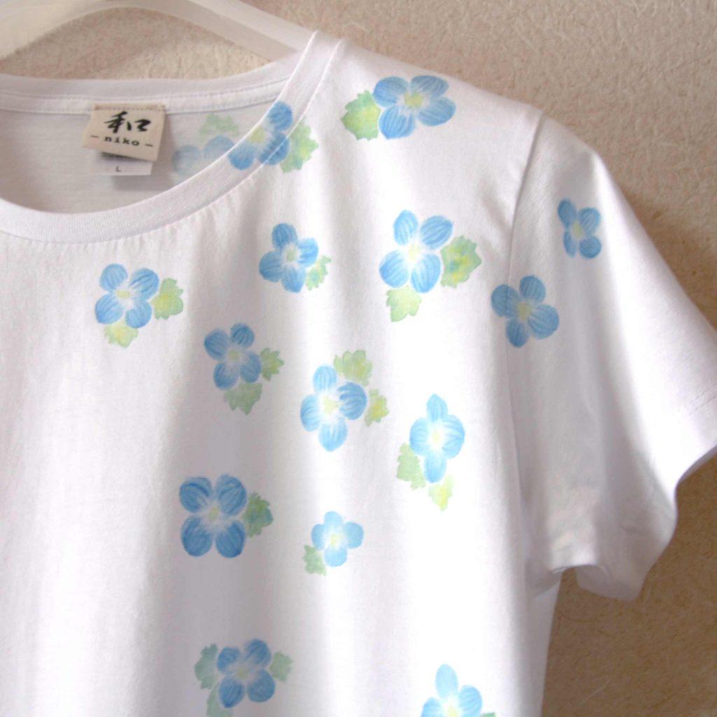 オオイヌノフグリの手描きTシャツフルオーダー。