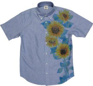 ひまわり柄 手描き半袖ボタンダウンシャツ メンズ