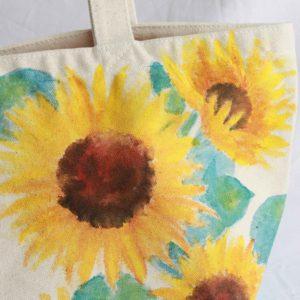 手描きのひまわり柄 キャンバスランチバッグ