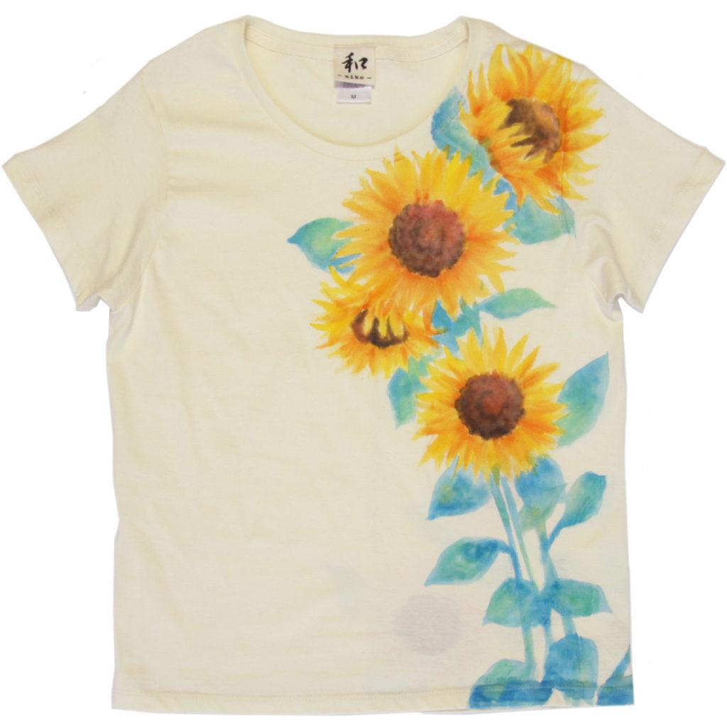 ひまわり柄のレディース手描きTシャツ 花柄 ハンドメイド