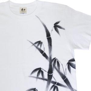 竹柄のメンズ手描きTシャツ 白 ホワイト 和風 和柄