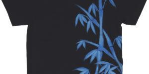 竹柄のメンズ手描きTシャツ 黒 ブラック