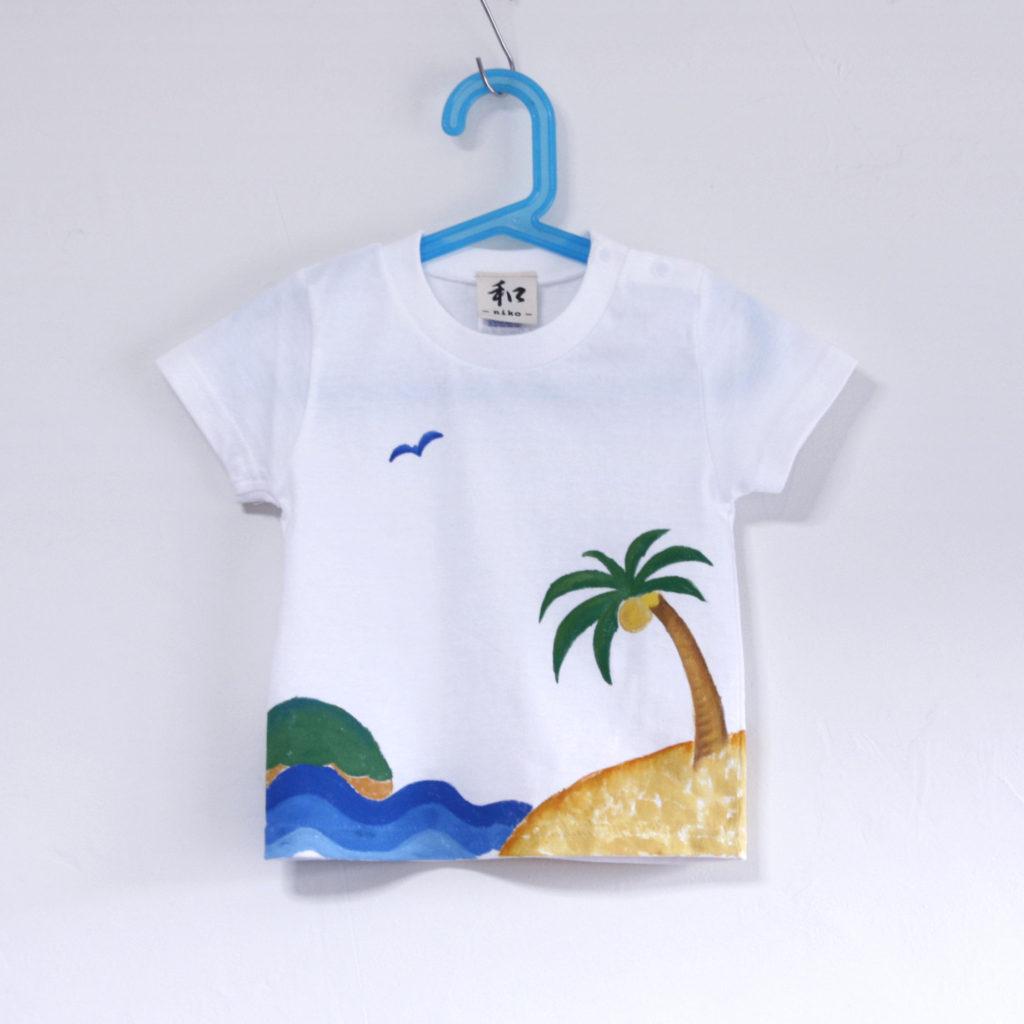 沖縄、宮古島に合うヤシの木と波のキッズTシャツのオーダー