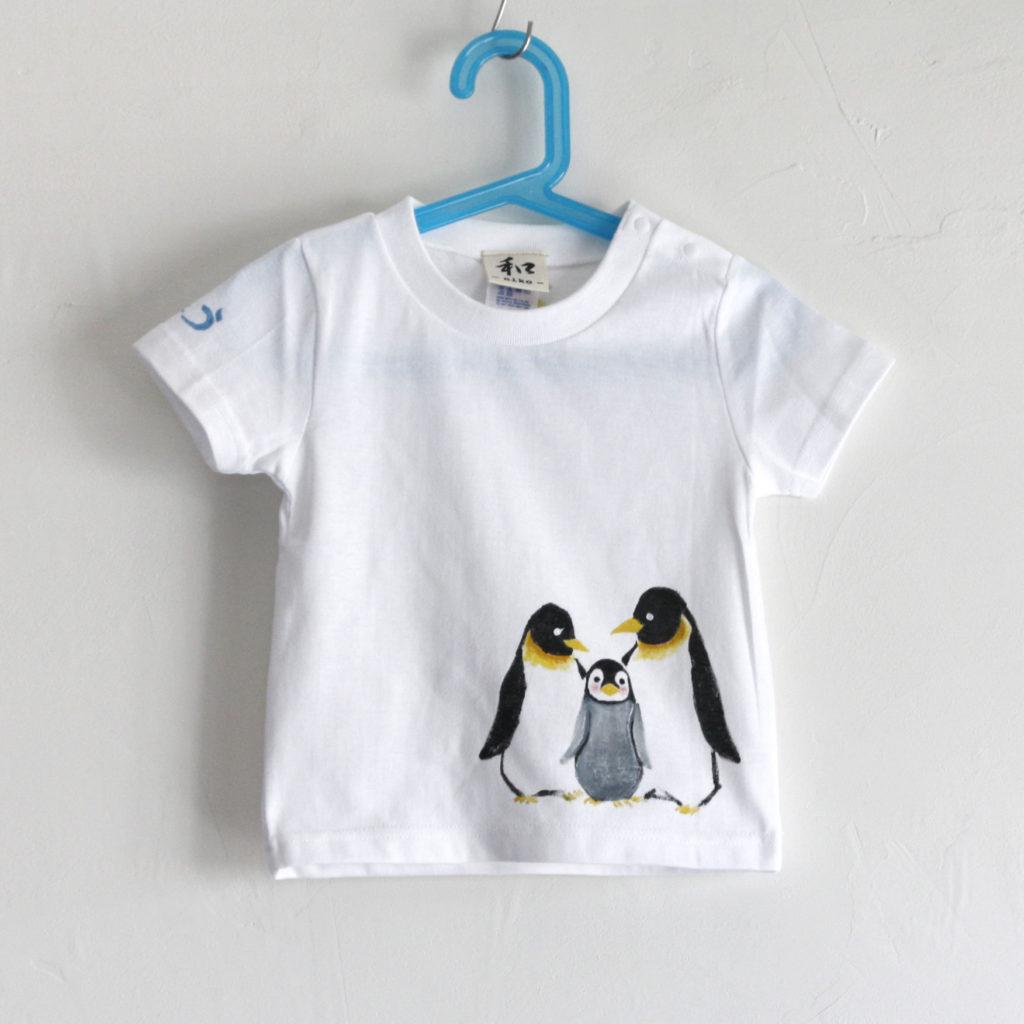 出産お祝いにペンギンと柚子のベビーTシャツ