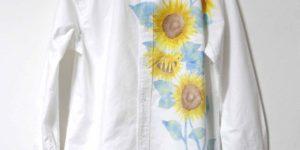 ひまわり柄の長袖ボタンダウンシャツのオーダー ホワイト