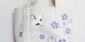 トートバッグに鶴と桜柄の手描きオーダー ハンドメイド
