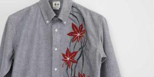 手描き紅葉柄 長袖 オックスフォードボタンダウンシャツ メンズ グレー
