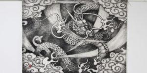 龍柄のタペストリーと名刺の制作。