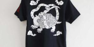 玄武柄手描きTシャツオーダー。 紺色
