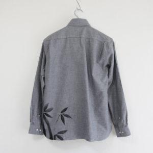 手描きTシャツ 長袖カジュアルシャツ 竹柄 和柄 グレー