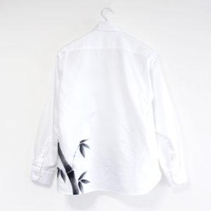 手描きTシャツ長袖カジュアルシャツ 竹柄 和柄 ホワイト