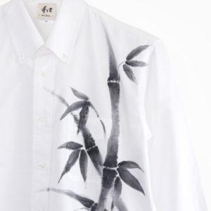手描きTシャツ 長袖カジュアルシャツ 竹柄 和柄 ホワイト