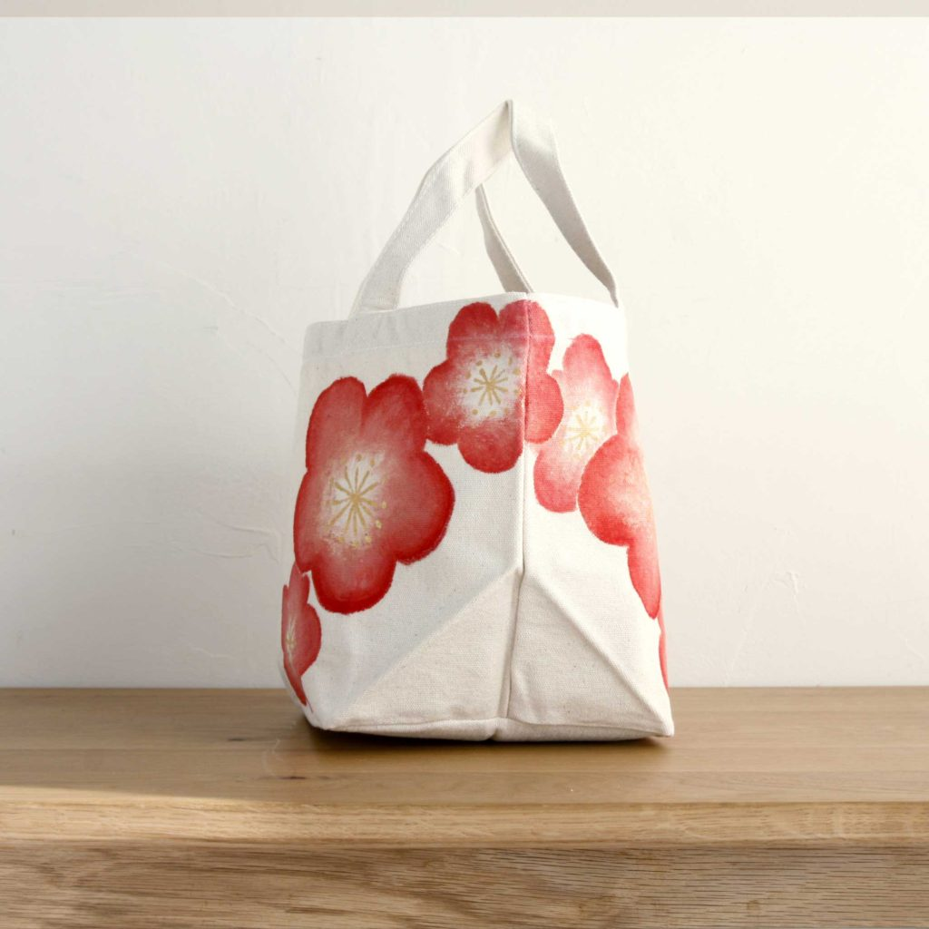 手描き梅の花柄トートバッグ コットン ランチバッグ マーズバッグ