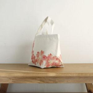 手描き桜の花柄トートバッグ コットン ランチバッグ マーズバッグ