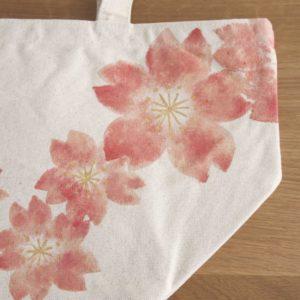 手描き桜の花柄トートバッグ コットン ランチバッグ