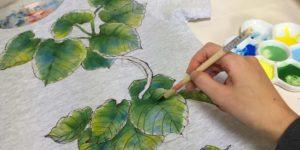 手描きTシャツ アトリエ 作業風景 植物Tシャツ