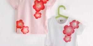 手描きTシャツ 梅の花柄Tシャツ キッズ 子供服