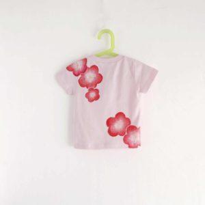 手描きTシャツ 梅の花柄Tシャツ ピンク キッズ 子供服