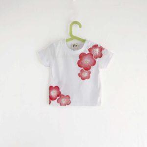 手描きTシャツ 梅の花柄Tシャツ ホワイト キッズ 子供服