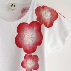 手描きTシャツ 梅の花柄レディースTシャツ 白 ホワイト 和風 和柄