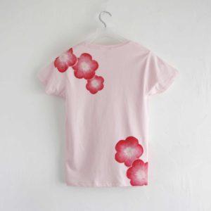 手描きTシャツ 梅の花柄レディースTシャツ ピンク 和風 和柄