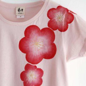 手描きTシャツ 梅の花柄レディースTシャツ ピンク 和風 和柄手描きTシャツ 梅の花柄レディースTシャツ ピンク 和風 和柄