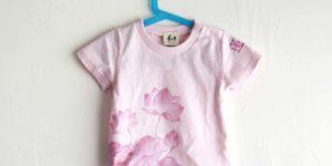 手描きTシャツ 子供服 名入れ 蓮柄 ピンク