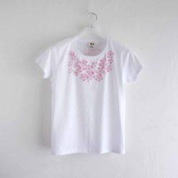 コサージュ桜の花柄Tシャツ ホワイト レディース