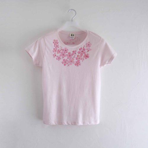 コサージュ桜の花柄Tシャツ ピンク レディース