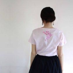 レディース 桜の花柄Tシャツ 春 ピンク
