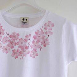 手描きTシャツ niko コサージュ桜柄Tシャツ レディース ホワイト