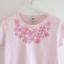 手描きTシャツ niko コサージュ桜柄Tシャツ レディース ピンク