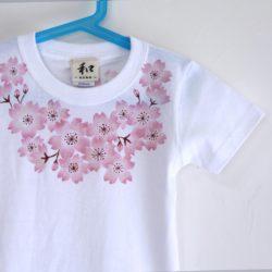子供服 コサージュ桜柄手描きTシャツ ホワイト