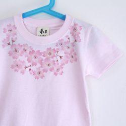 子供服 コサージュ桜柄手描きTシャツ ピンク
