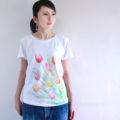 niko 手描きTシャツ チューリップ柄 レディース ホワイト