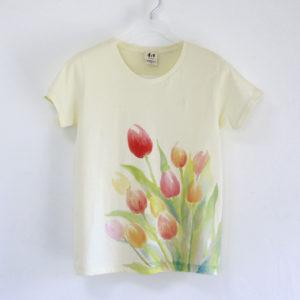 niko 手描きTシャツ チューリップ柄 レディース イエロー