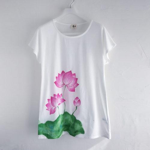 レディース 蓮柄チュニックTシャツ