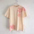 手描き舞桜柄Tシャツのナチュラル色Tシャツオーダー