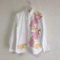 手描き桜柄長袖ボタンダウンシャツのオーダー。
