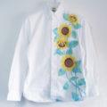 手描きひまわり柄長袖ボタンダウンシャツオーダー。