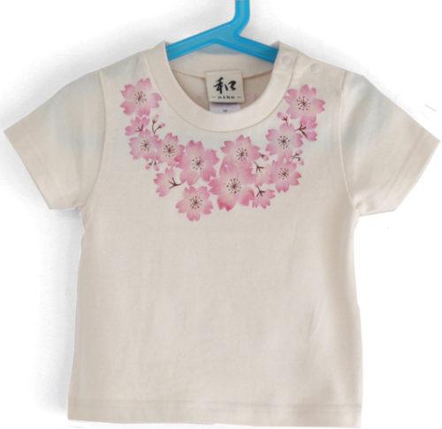 子供服 コサージュ桜柄Tシャツ
